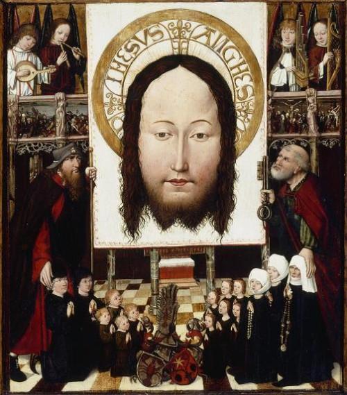 Grupo de la familia que adora el Velo de la Verónica, c.  1490, de Austria, óleo sobre tabla