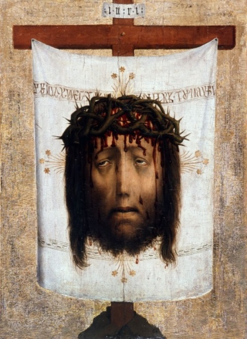 The veil of St. Veronica (Vera Icon). Date circa 1450