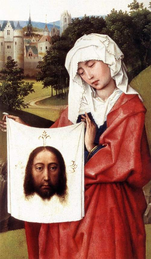 Secrets of the miraculous Veil of Veronica. Rogier Van der Weyden - Crucifixion Triptych (detail)