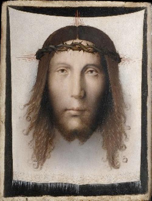 Saint Veronica's Veil. Made in Italy. c. 1500. Bernardino di Bosio Zaganelli, Italian (active Romagna), c. 1470 – c. 1510. Oil on panel