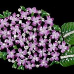 Lovely Trifari Enamel lilac pin (brooch) set with white rhinestones