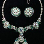 Trifari Floral Necklace Earrings Green Stones