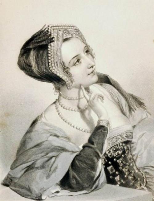 Anne Boleyn. Shakespearean beauties in Charles Heath engravings