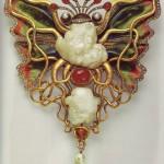 Circa 1900. Brooch by Wilhelm Lucas von Cranach, entitled 'Tintenfisch und Schmetterling' (Octopus and Butterfly)
