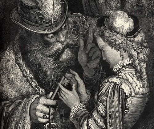Bluebeard, his wife, and the magical key in a 19th-century illustration by Gustave Doré
