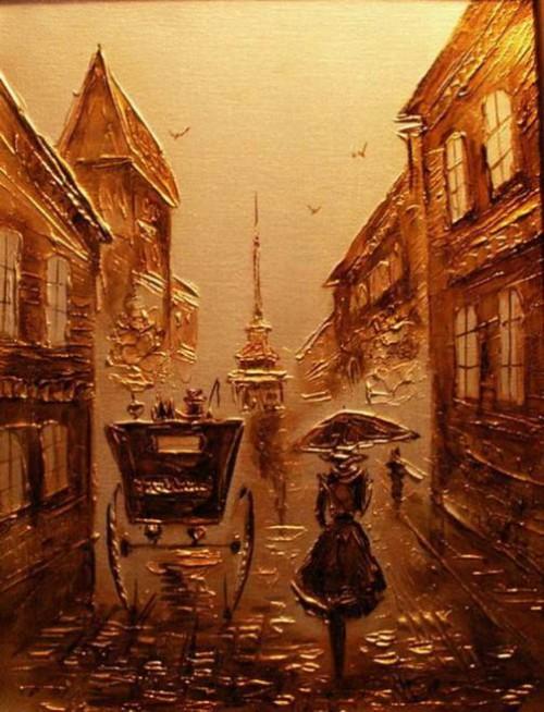 Gold morning, artist Igor Grishin, 2011. Mixed technique. Canvas