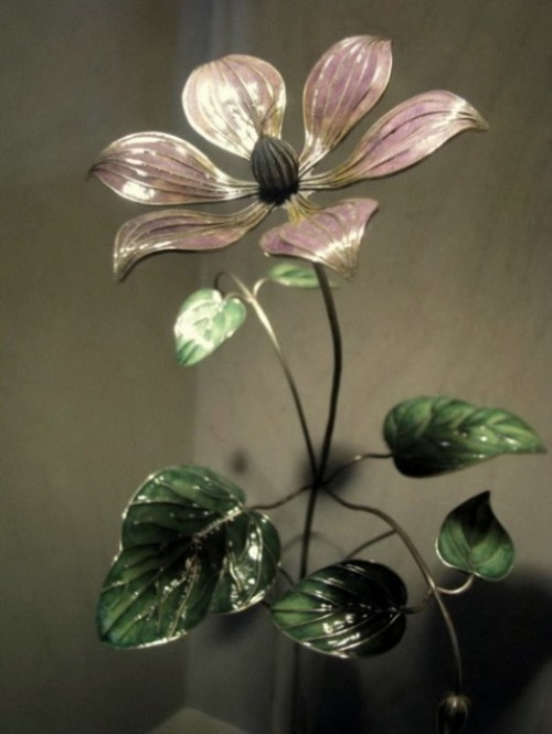 Beautiful enamel flowers by Russian artist - jeweler Nikolay Suslov