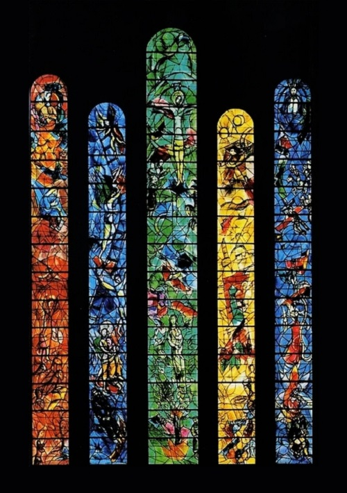 Stained-glass windows of the church choir of St. Stephen, Germany. Chagall conceived stained glass windows as a symbol of reconciliation between the German and Jewish peoples