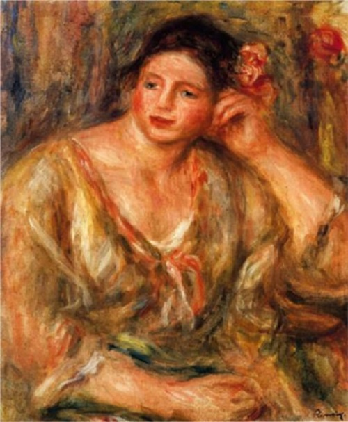 Auguste Renoir. Madeleine with flowers in her hair, leaning on her elbow. Most expensive stolen artworks