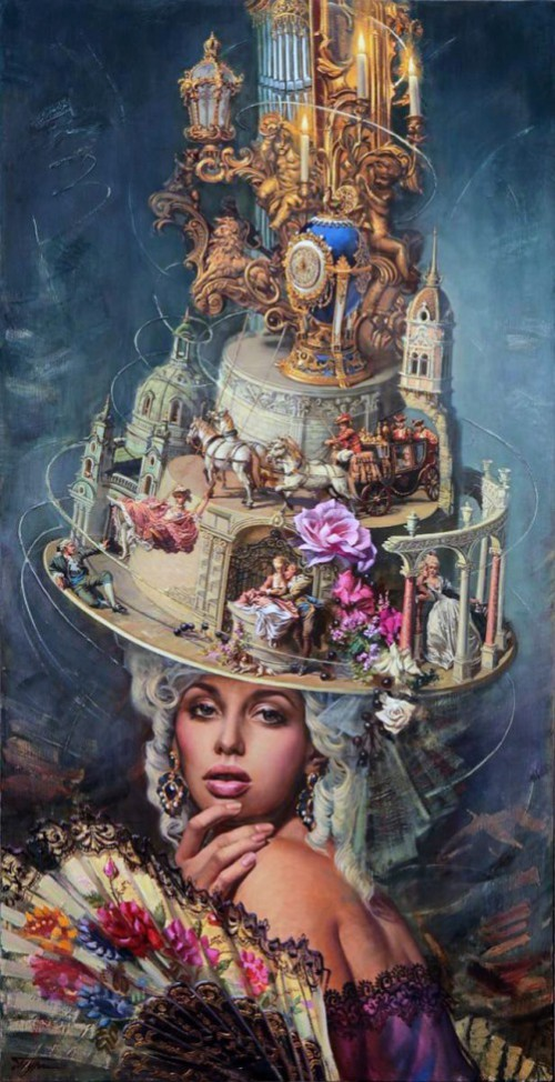 Baroque Hat, 2012. Oil on canvas. Painting by Russian artist Oleg Turkin