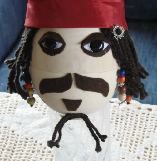 Captain Jack Sparrow Egg. A Faberge-style wooden egg designed by Johnny for the 'Eggstravaganza', a benefit for The Royal Blind School in Edinburgh, Scotland, April 2010