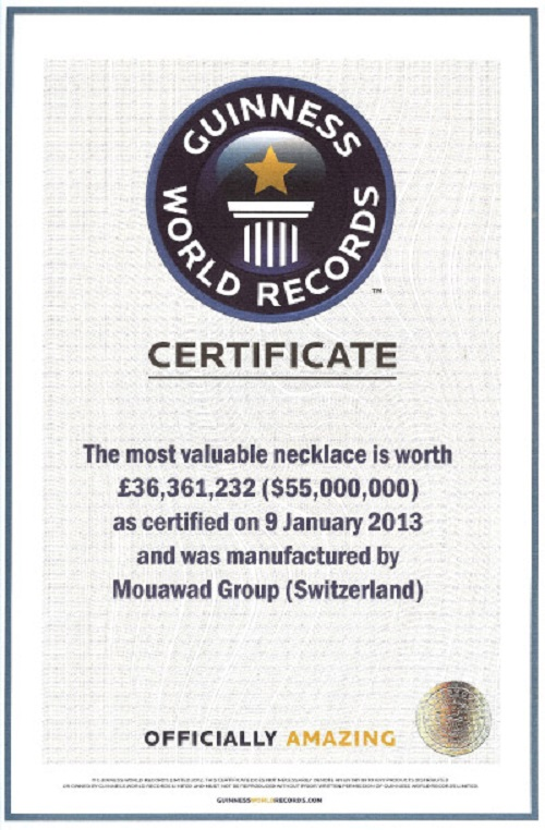 L'Incomparable Diamond Necklace. Guinness World Records certificate