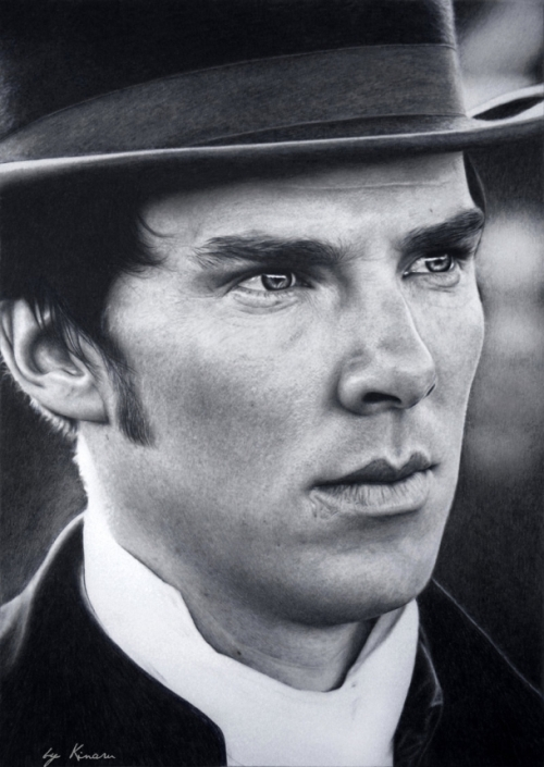 Benedict Cumberbatch (Sherlock Holmes series of the same name). Pencil drawings by Natasha Kinaru
