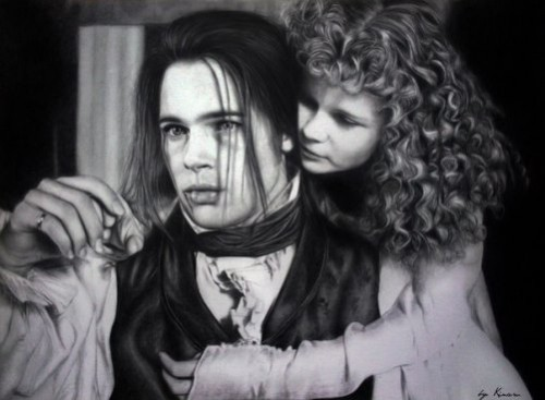 Brad Pitt and Kirsten Dunst in 'Interview with the Vampire'. Pencil drawings by Natasha Kinaru