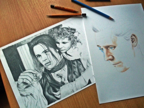 Brad Pitt and Kirsten Dunst in 'Interview with the Vampire'. Pencil drawing by Russian artist Natasha Kinaru