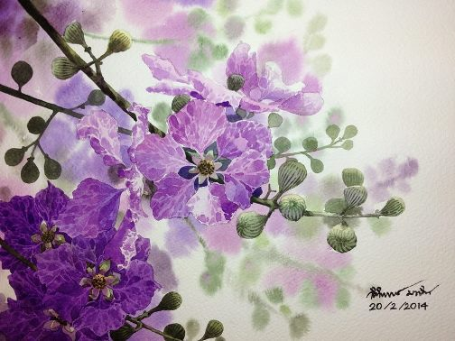 Watercolor on paper. Painting by Thai artist Ti Watercolor