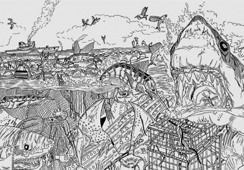 Detailed drawings by Serbian graphic artist Dusan Krtolica, 9 years old