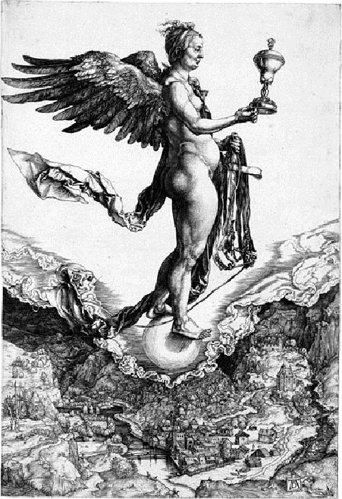 Roman Goddess of luck Fortuna. Albrecht Durer