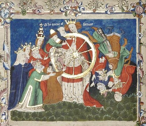 Ejemplo del asedio de Troya de John Lydgate, que muestra la rueda de la fortuna en poder, convertido por el Quene de la Fortuna.  Mediados del siglo 15