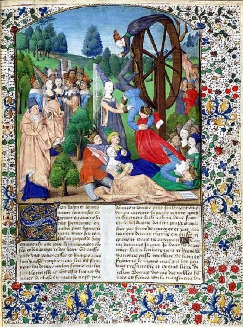 Señora Fortuna en un manuscrito Boccaccio