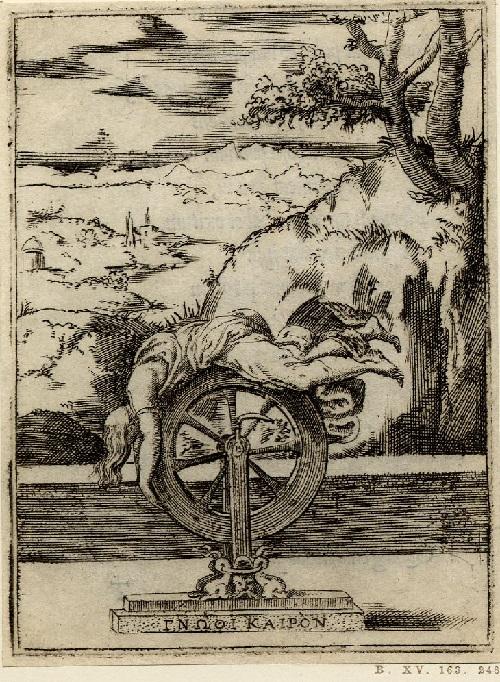 La rueda de la fortuna con la figura vestida acostado en ella, puesto delante de un paisaje;  a partir de una serie de 150 grabados.  1555