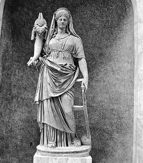 Vaticano, Roma, Italia.  Estatua de la fortuna.  Brooklyn Museum Archives, Goodyear Archivo Colección