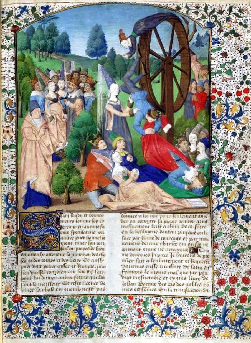 Rueda de la fortuna de una edición de de Boccaccio 'De Casibus Virorum Illustrium' (París, 1.467)