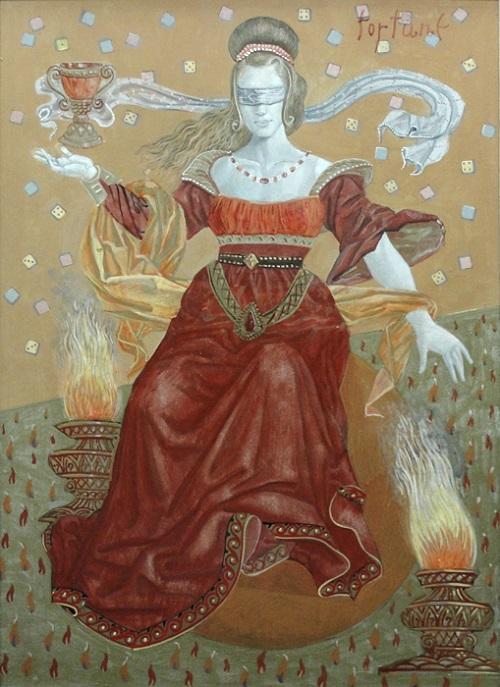 Diosa romana de la suerte Fortuna, la alegoría