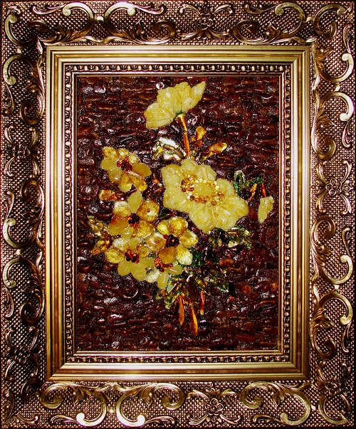 Bouquet in frame. Kaliningrad amber paintings