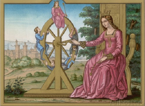 Roman Goddess of luck Fortuna. Wheel of Fortune