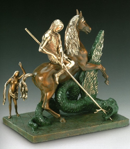 St. George and the Dragon. Salvador Dali bronze sculpture