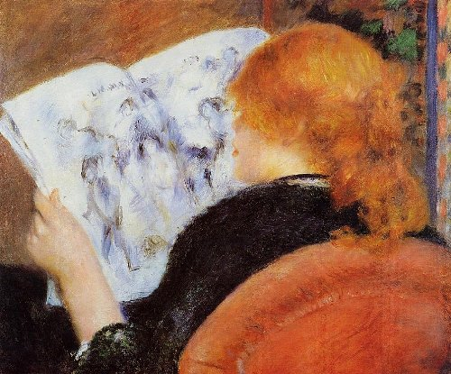 Young woman reads illustrated journal, Ideal of beauty for Renoir