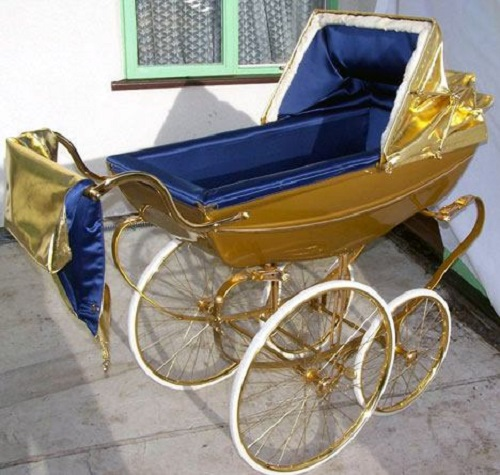 Most unusual gold products. Gold baby carriage by British designers Graham Richardson and Alison Murfet