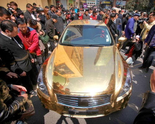 Most unusual gold products. Gold plated Infiniti G37 car by jewelers from the Chinese city of Nanjing
