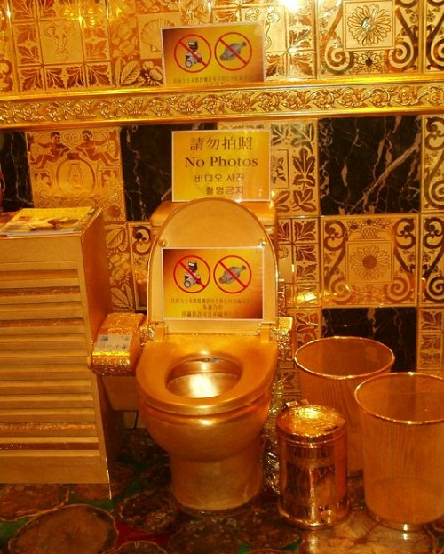 Most unusual gold products. Gold toilet by jewelry designer Lam Sai Wing