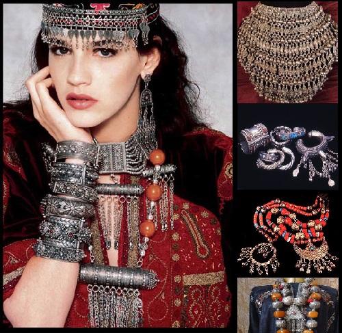 Silver jewelry of Yemeni bride