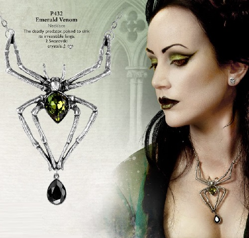 Alchemy Gothic jewelry. Lady Amaranth in Alchemy England catalogue, wearing the Emerald Venom necklace & Mortuarium earstuds