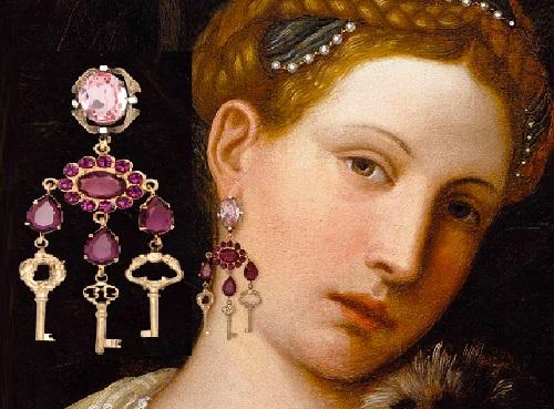 Portrait of Tullia d`Aragona as Salome, Moretto da Brescia. Winter/Fall 2014-15 Jewelry collection Dolce&Gabbana keys opening hearts