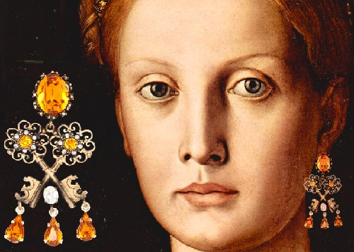 The Portrait of Lucrezia Panciatichi, painting by the Italian artist Agnolo di Cosimo, known as Bronzino, around 1545. Winter/Fall 2014-15 Jewelry collection Dolce&Gabbana keys opening hearts