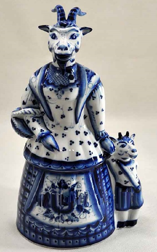 2015 Blue Wooden goat. Blue goat with a kid 2015 Gzhel porcelain sculpture, photo from website gzheli.net