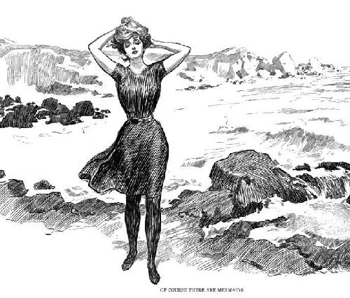 Gibson Girl iconic beauty. on a beach, 1902
