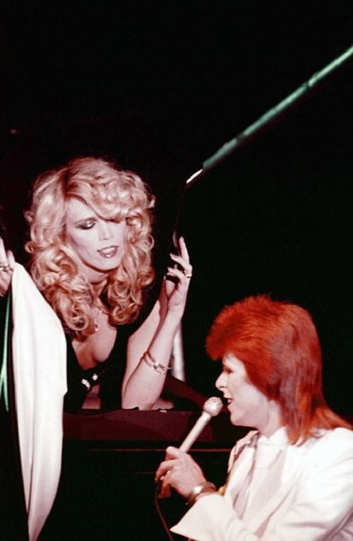 Angel of Salvador Dali Amanda Lear. David Bowie and Amanda Lear in The Marquee Club. London, 1973