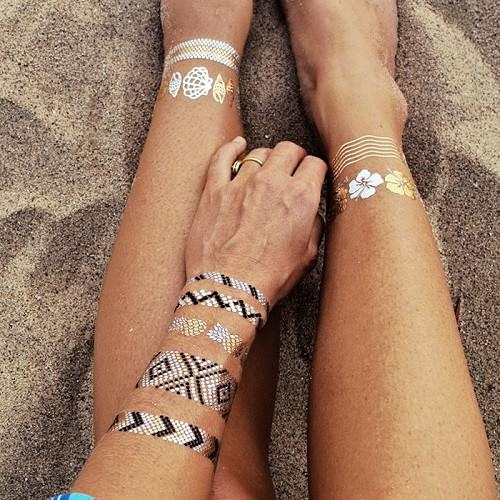 2015 summer trend Temporary Metallic Flash Tattoos instead of jewelry