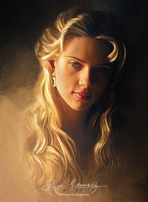 Painting beauty Amro Ashry. Pretty Face - Scarlett Johansson