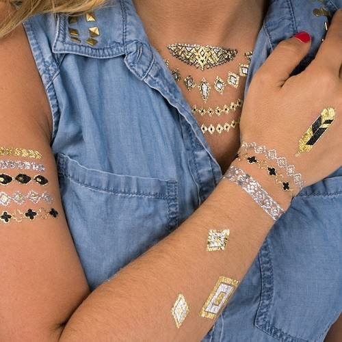 Gold foil temporary tattoos beauty will save for Gold foil tattoo
