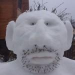 Big-foot-like snowman