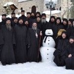 The monks from the monastery of St. John the Baptist, which is located in the Macedonian town of Mavrovo. January 2015