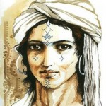 Drawing depicting Berber tribal woman