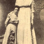 """American woman Ella Kate Ewing from Missouri was considered the world's tallest female of her era. She earned a living by participating in a sideshow attraction """"The Missouri Giantess."""""""