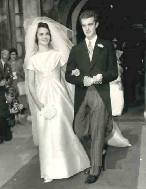 Henrietta Tiarks Duchess of Bedford, 1961 wedding day